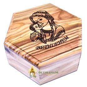 Olive Wood Large Hexagon Rosary Box with Blessed Mother and Child from Bethlehem