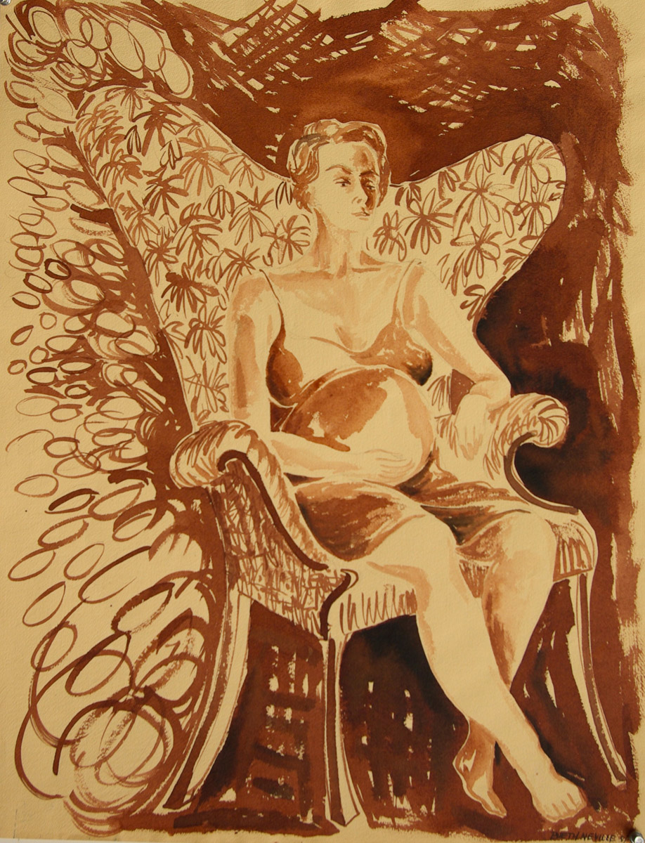 sepia painting: Beth Pregnant in the Bat-wing Chair