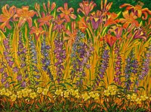 Hostas, Day Lilies, Primroses - acrylic painting