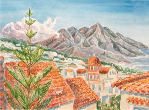 watercolor: Rhythemno, Crete, Rooftops