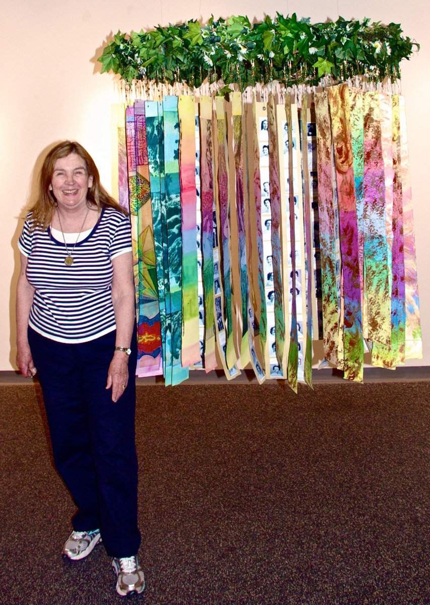 "Beth and ""Circle of Life,"" installed, Jannotta Gallery, Smith College,"