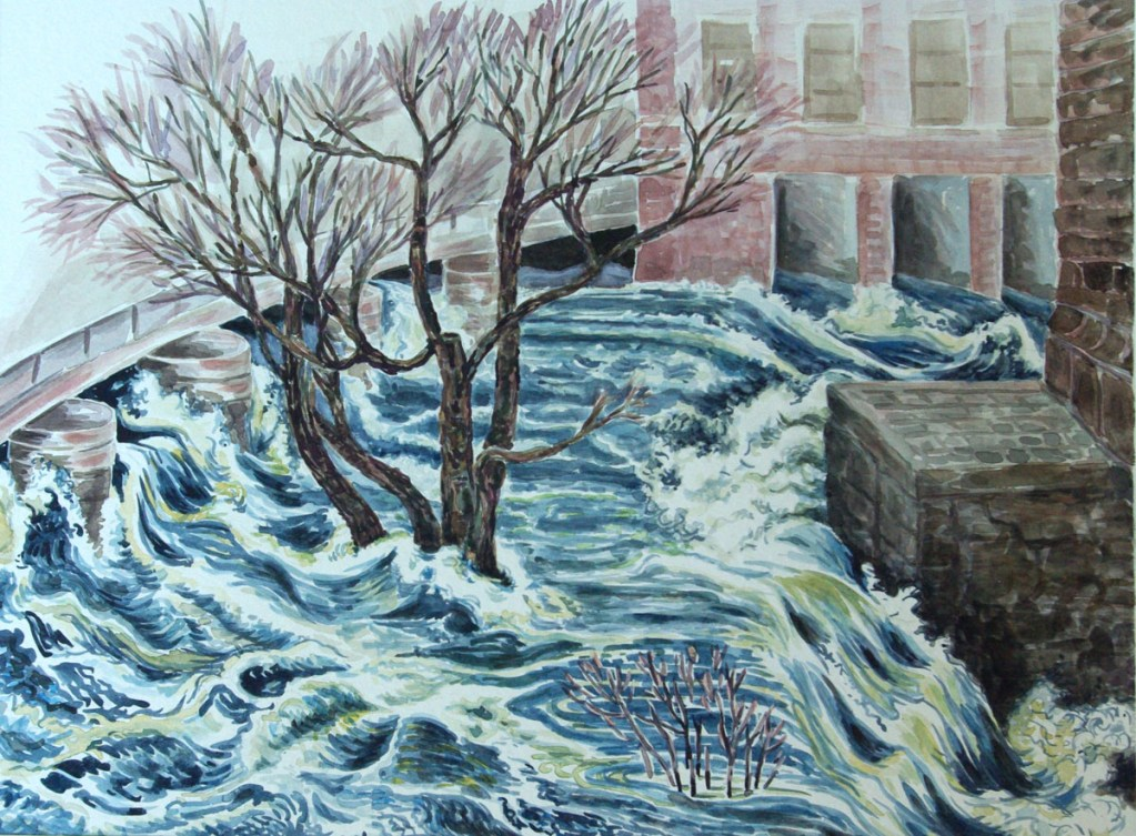 watercolor: Flood Neponset River Dorchester Bridge