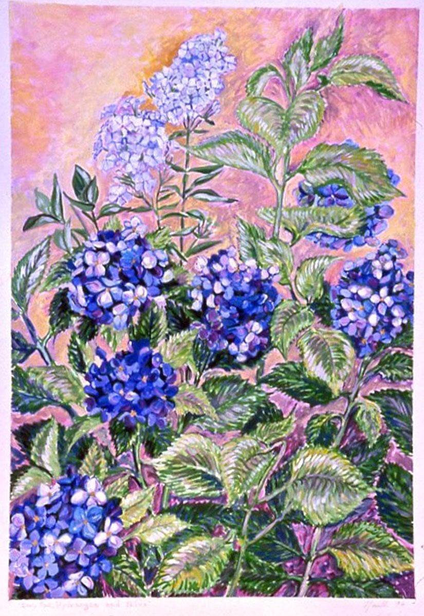 Hydrangeas: acrylic painting