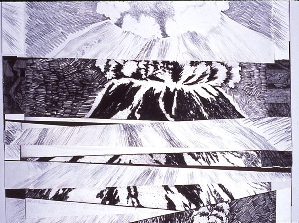 Mt. St. Helens etching, detail