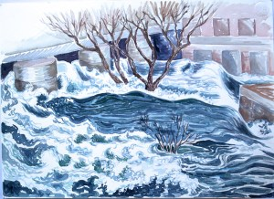 watercolor: Lower Dam Flood Neponset River MA