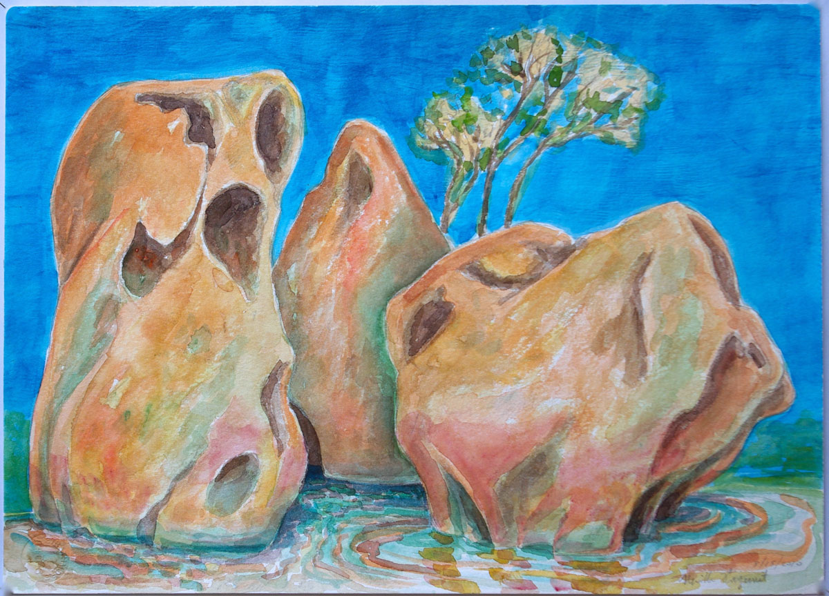 watercolor: Monoliths, Coles Bay, Tasmania, Australia