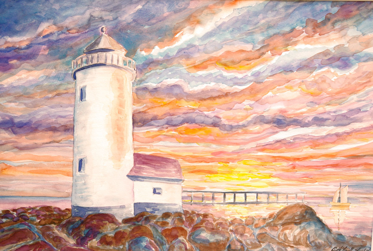watercolor: Brant Point Lighthouse Nantucket MA