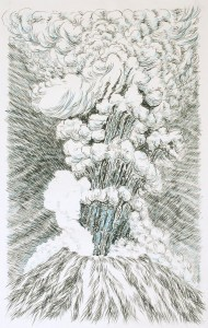 Explosion, Volcano, Black marker pen, blue pencil on paper