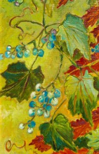 Fall Berries, detail, oil painting