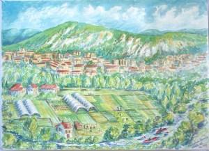 watercolor: Arga River Irrigation, Pamplona, Navarra, Spain