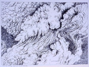 pen on paper study: Ash Cloud