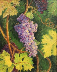 Merlot Grapes: oil painting