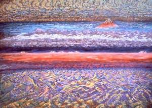 acrylic painting: Mt. Fuji, Caldera