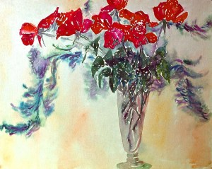 Anniversary Roses West Haven: watercolor painting