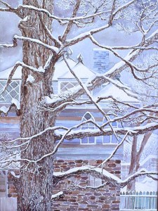watercolor: Snow on Tree, Lewis Parkway, Yonkers NY