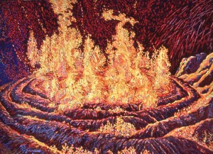 Spiral Jetty in Flames 7, acrylic painting