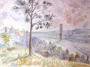 watercolor: Dying Tree, George Washington Bridge, Hudson River Bronx NY