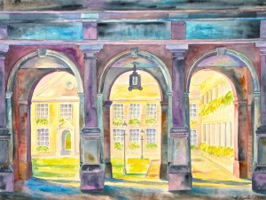 watercolor: Three Arches, Colleges, Cambridge, England