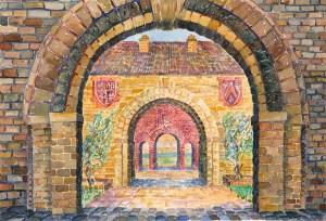 watercolor: Courtyard Arches, triple arches, Cambridge, England