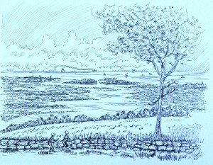 drawing: Sea View from Milton Hill, 1866