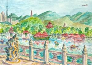 watercolor: Kunming Lake, Summer Palace, Beijing, China