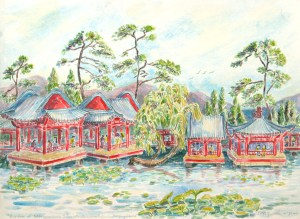 watercolor: Queen's Summer Palace, Harmonious Pleasures, Beijing China