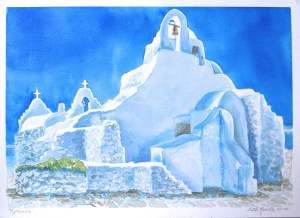 watercolor: Orthodox Church, Mykonos, Greece