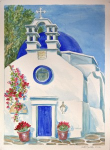 watercolor: Orthodox Church, Bouganvillea, Mykonos, Greece