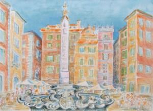 watercolor: Rotunda Plaza, Rome, Italy