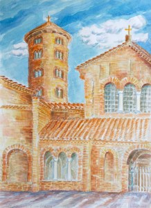 watercolor: Medieval Church, Assisi, Italy