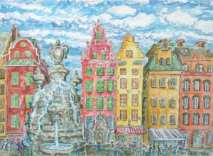 watercolor: Gamla Stan, Fountain, Stockholm, Sweden