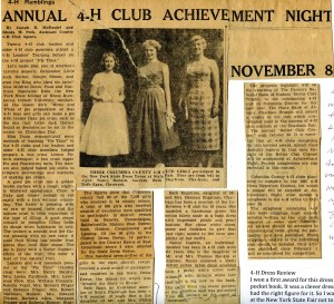 newspaper article reports on Beth Neville winning 4-H prize for dress design