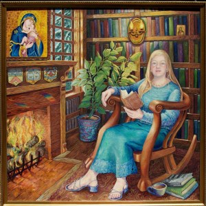 oil painting of Leonora Neville reading by the fireplace