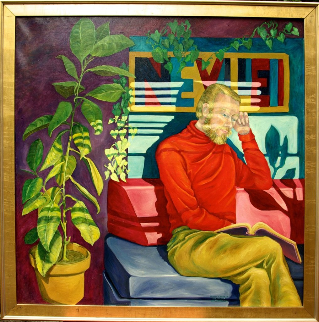 oil painting of Robert Neville Studying in Window Light