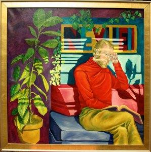 oil painting of Robert Neville Studying in Window Light