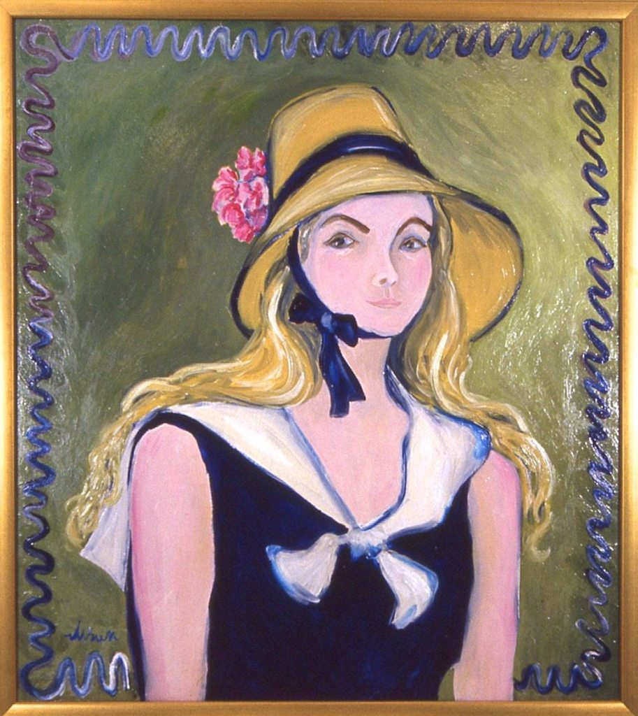 oil painting of Beth Neville wearing a Renoir Hat