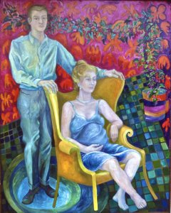 oil painting of Beth and Robert Neville, with Beth in the batwing chair