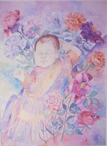 watercolor painting of Naomi Neville, 3 months