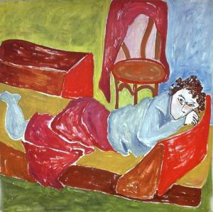oil painting entitled 'Woman on the Couch'