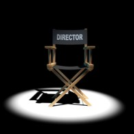 3d Directors chair under the spotlight