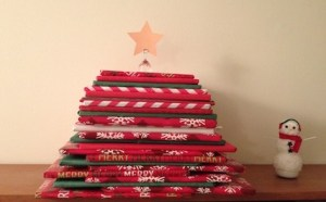 Picture book tree on my bookcase. (Snowman wants to read the books!)