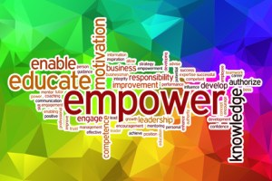 Empower word cloud with abstract background