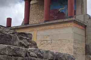 Palace of Knossos and bull fresco