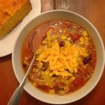 spicy chicken soup with beans, corn, and salsa