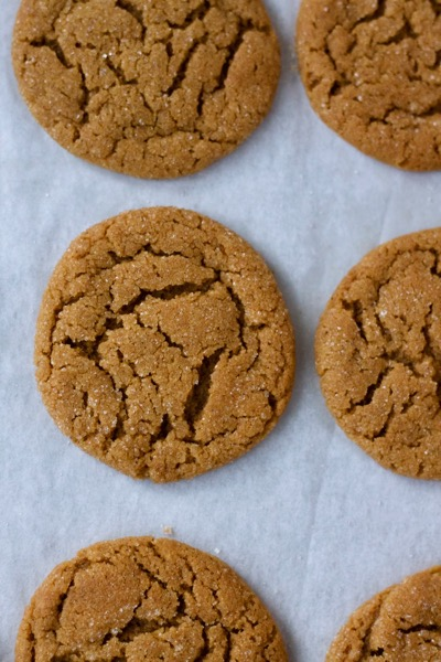 a close-up of gingersnaps with their unique, crackly surfaces