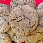 crackly gingersnaps on a red plate