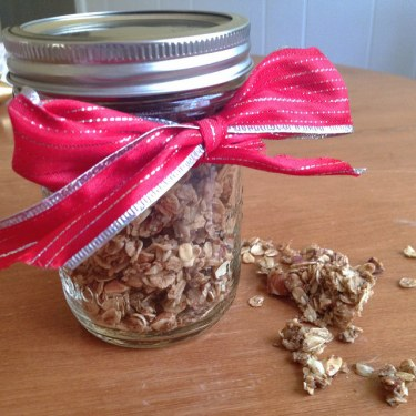 nutty coconut granola ready for gifting