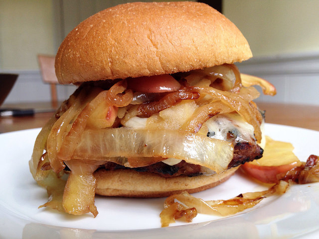 Smothered Maple Turkey Burgers (with caramelized onions & apples).