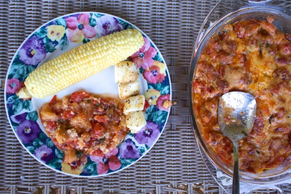 rustic tomato bake, corn, and fish for dinner