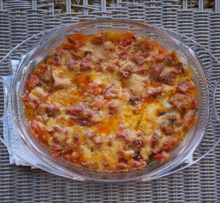 bubbly, cheesy rustic tomato bake